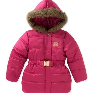 Juicy Couture Pink Puffer Jacket Faux Fur Trim 18m